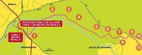 Trazado del Tranvía Alcalá de Guadaíra